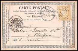 8739 LAC Entete Blanpied N 59 Ceres GC 6319 Lyon Vaise Convoyeur Avignon 1874 France Precurseur Carte Postale (postcard) - Entiers Postaux