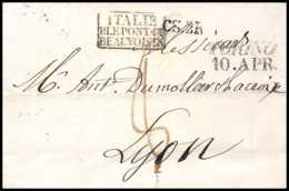8693 LSC Marque Postale Cachet Entree 1830 Turin 10.apr Le Pont Beauvoisin Pour Lyon Par France Lettre (cover) - Postmark Collection (Covers)