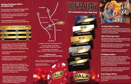 Pala Casino - Pala, CA - Multi-Page Player Rewards Brochure - Casino Cards