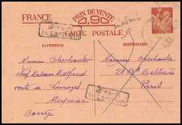 1161 France Entier Postal Stationery Carte Postale Type Iris Marron Irregulier Retour à L Envoyeur Meymac Correze - Entiers Postaux