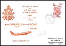 1005 Lettre Airbus Aviation Premier Vol (Airmail Cover First Flight Luftpost) Paris Deauville Rome 2/6/1980 - Avions