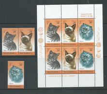 New Zealand 1983 Domestic Cats Charity Health Set 3 - Pair & 2 Singles + Miniature Sheet MNH - New Zealand