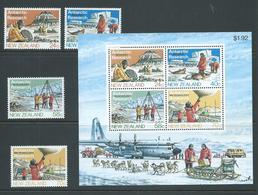 New Zealand 1984 Antarctic Research Set 4 & Miniature Sheet MNH - New Zealand