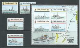 New Zealand 1985 Naval Ships Set 4 & Anzcan Cable Miniature Sheet MNH - New Zealand