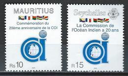 Mauritius-Seychelles. Scott # 982,843 MNH 20th Anniv. Of Indian Ocean Commission. Joint Issue With Madagascar 2004 - Gemeinschaftsausgaben
