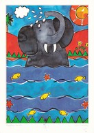 Lisa V Keaney Elephant Shower Postcard Used Good Condition - Paintings