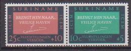 SURINAME 1966  COMITATO PER MIGRAZIONI EUROPEE YVERT. 420-421 MNH XF SE TENANT - Suriname