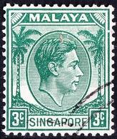 SINGAPORE 1948 KGVI 3c Green SG3 FU - Singapore (...-1959)