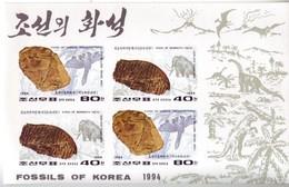 Korea 1994 Fossils IMPERF Set Of 3 MS Of 2 Setenant Values Mnh ** Fossils Dinosaurs Prehistoric Life Fish Mammoth - Fossils