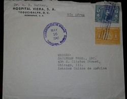 O) 1941 HONDURAS, PRES. CARIAS SC C90 15c Blue, SEAL HONDURAS SC 336 1c Orange, AIRMAIL FROM HOSPITAL VIERA TO USA - Honduras
