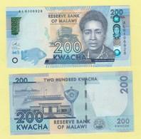 Malawi P-NEW, 200 Kwacha, Rose Lomathinda Chibambo, Fish HOLOGRAM UNC See UV &wm - Malawi