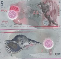 Maldives P-A26, 5 Rufiyaa, Soccer Players / Seashell, UV Image POLYMER UNC - Maldiven