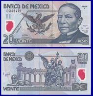 Mexico P116a, 20 Pesos, Benito Juárez / Juárez Statute UNC 2001 POLYMER $7 CV - México