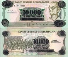 Nicaragua P158, 10,000 Cordoba, Comandante Amador / Troops O/P Note, UNC - Nicaragua