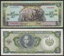 EL SALVADOR - 5 COLONES Banknote 1990 Pick 138 VF (3)  (23876 - Banknoten