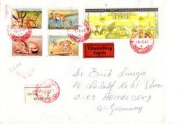 9.5.1987; Expres-Recommander Tripoli - Heidelberg, Mi-Nr. 1753-1756 + Epreuve Jaune 1757-59;; Lot 51185 - Libye