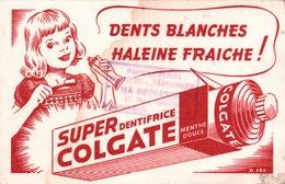 """Ancien BUVARD Illustré SUPER COLGATE  , Tampon """" MA DROGUERIE """" à HONFLEUR - Blotters"""