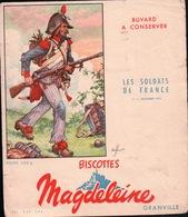 Ancien BUVARD Illustré Biscottes MAGDELEINE à GRANVILLE .les Soldats De FRANCE - Biscottes