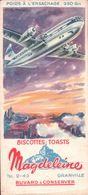 """Ancien BUVARD Illustré Biscottes MAGDELEINE à GRANVILLE .Avion Quadrimoteur """" STRATOFREIGHTER """" - Biscottes"""