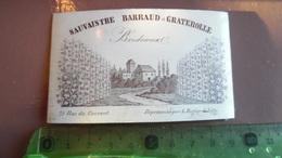 Publicité - Carte De Visite Sauvaistre Barraud Et Graterolle Vin Bordeaux - Carte Porcelaine FOND VERDATRE - Visitekaartjes