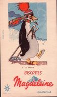 Ancien BUVARD Illustré Biscottes MAGDELEINE à GRANVILLE  Le PINGOUIN - Biscottes
