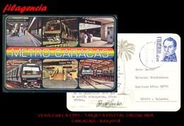AMERICA. VENEZUELA. ENTEROS POSTALES. TARJETA POSTAL CIRCULADA 1985. CARACAS-BOGOTÁ. METRO DE CARACAS - Venezuela