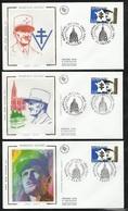 3 FDC Lettres Illustrées Premier Jour Paris Strasbourg Et Amiens 28/11/1997  N°3126 Leclerc   Soldé à Moins De 20% ! ! ! - FDC