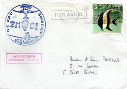 Aviso Escorteur Commandant Bourdais 1982 - ZMOI Océan Indien Sur Lettre De Djibouti - Marcophilie (Lettres)