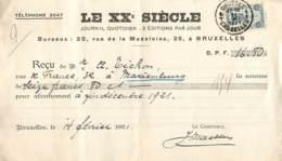 Reçu Pour Abonnement Le XXe Siècle Affranchi Par Le N° 164 - Perron Liégeois - Storia Postale