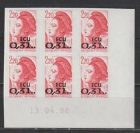 YT 2530 ** 2,20F Rouge Liberté Surchargé ECU, Non Dentelé En Coin Daté De 6 TP - 1982-90 Liberty Of Gandon