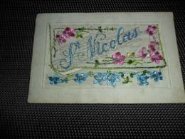 Carte Brodée ( 36 )  Geborduurde Kaart  Carte Enveloppe   Saint Nicolas  Sint Niklaas - Embroidered