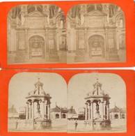RARE - 4 PHOTOS  STEREOSCOPIQUES - EINSIEDELN  ( Suisse)   - 23 Juin 1883  La Chapelle - La Fontaine De Notre Dame - Photos Stéréoscopiques