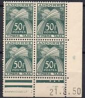Andorre Français - Taxe N° 40 XX (neufs Sans Charnière) En Bloc De 4 Coin De Feuille Daté - Postage Due
