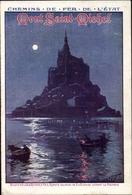 Artiste Clair De Lune Cp Le Mont Saint Michel Manche, Chemins De Fer De L'État, ETAT - Trains