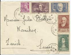 1939 - SUPERBE AFFRANCHISSEMENT SUR LETTRE - LYON CROIX ROUSSE Vers SUISSE - France