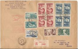 1939 - SUPERBE AFFRANCHISSEMENT SUR LETTRE RECOMMANDEE - PA 1er Vol USA - France