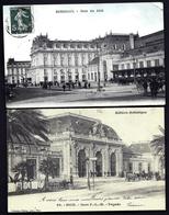 FR1- LOT 2 CPA ANCIENNES- FRANCE- GARES VUES D'EXTÉRIEUR AVEC BELLE ANIMATION- ATTELAGES- LINGE ENTENDU- - Gares - Sans Trains