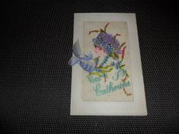 Carte Brodée ( 75 )  Geborduurde Kaart  ( Pas Une Carte Postale , Carte De Voeux )  Sainte Cathérine - Embroidered