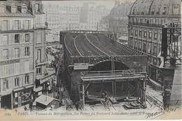 PARIS : Travaux  Du Métropolitain - Les Fermes  Du Boulevard  Saint André  Avant Le Foncage (1906) - Parcs, Jardins