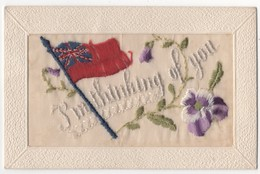 WW1 Vintage Embroidered Silk Postcard I'm Thinking Of You Patriotic Union Jack Flag - Patriotiques