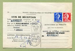 ENNEZAT  (63)  : AVIS DE RECEPTION D'UN OBJET RECOMMANDE  (1959) - Marcophilie (Lettres)