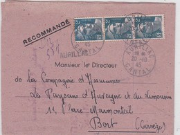 LSC -  REC. D'AURILLAC / 20.10.45 - Postmark Collection (Covers)