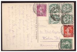 Bloc De 4 Du N° 111 + 159 ,190 Et19  Sur CP De STRASBOUG Pour L'ALLEMAGNE Du 26.8.27. - Lettres & Documents