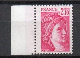 - FRANCE Variété N° 1978b ** - 2 F. 10 Rose Carminé Type Sabine 1977-78 - SANS PHOSPHORE - Signé CALVES - Cote 40 EUR - - Variétés Et Curiosités