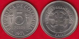 """Colombia 5 Pesos 1971 Km#247 """"Pan-American Games In Cali"""" UNC - Colombia"""