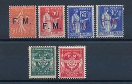 FRANCE - FRANCHISE MILITAIRE N°YT 6/9+11/12 NEUFS* AVEC CHARNIERE - COTE YT : 14€90 - 1929/58 - Franchise Militaire (timbres)