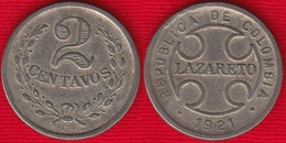 """Colombia 2 Centavos 1921 Km#L10 """"Leprosarium Coinage"""" - Colombia"""