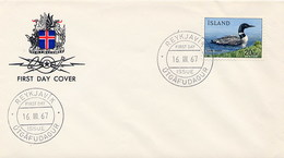 ISLANDA - FDC 1967 -  ANATRA - FDC
