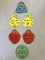 6 PLAQUES VÉLO ANTWERPEN «1980 -1983-1984-1985. - Number Plates