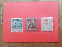 EX COLONIE FRANCESI - TAHITI - 3 Valori Sovrastampati Nuovi * + Spese Postali - Tahiti (1882-1915)